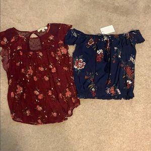 2 pack women's floral summer shirts